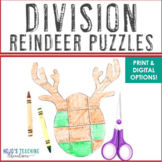 DIVISION Reindeer Math Puzzles | FUN Christmas Games or Worksheet Alternatives