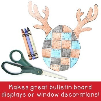 DIVISION Reindeer Math Puzzles   FUN Christmas Games or Worksheet Alternatives