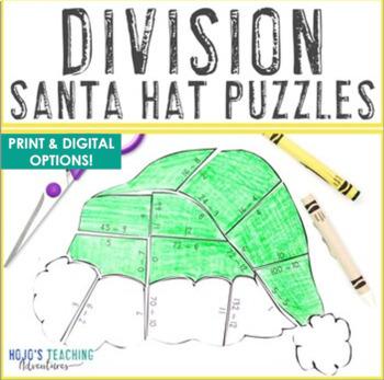 division santa hat puzzles fun christmas santa math coloring sheet alternative