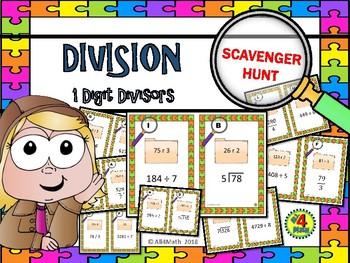 DIVISION Scavenger Hunt Task Cards: 1 Digit Divisors