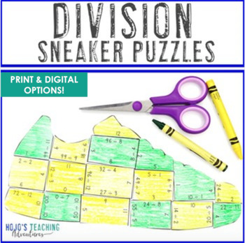 DIVISION Sneaker Math Puzzles | FUN Sports Theme Classroom Supplement Activity