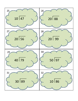 DIVISION TASK CARDS 2-digit dividends with 2-digit divisors (multiples of 10)