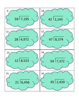 DIVISION TASK CARDS 4-digit dividends with 2-digit divisors
