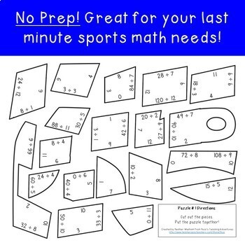 DIVISION Whistle Math Puzzles | Sports Theme Classroom Bulletin Board Supplement