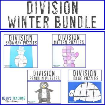 DIVISION Winter Math Worksheet Alternatives - Snowman, Mitten, Penguin, & Igloo