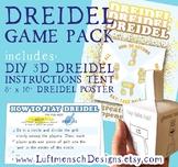 "DIY 3D Dreidel PLUS 8"" x 10"" Hanukkah Poster and Instructions Tent"