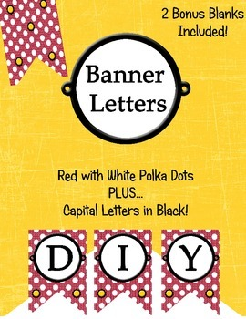 DIY Banner Letters Red with White Polka Dots