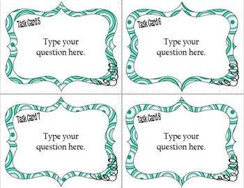 DIY:  Blue/Green Swirls Make Your Own Task Cards Kit - Just Type Your Own Text!