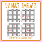 DIY Build Your Own Mazes with Solutions Blank Templates Clip Art Set