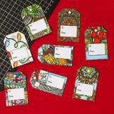 DIY Christmas Gift Tags - Printable PDF Template with 8 tags to print and color
