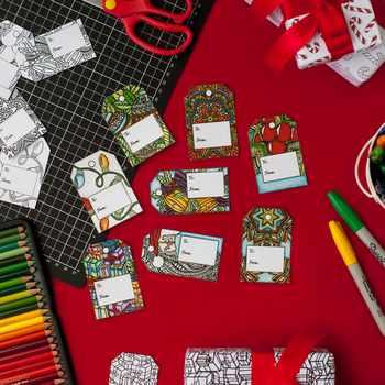 DIY Christmas Gift Tags - Printable PDF Template with 8 tags to print and color