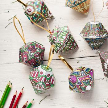 DIY Christmas Ornaments - Set of 10 printable tree ornament templates