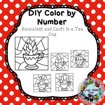 DIY Color by Number Clip Art: Cacti/Succulents in a Tea Cup