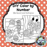 DIY Color by Number Clip Art: Mermaid and Octopus