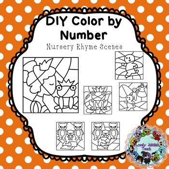 Editable Color by Code Clip Art: Nursery Rhymes