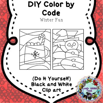 Editable Color by Code Clip Art: Winter Fun