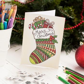 DIY Coloring Christmas Cards - Set of 20 read-to-fold printable Christmas Cards