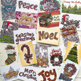 DIY Coloring Christmas Cards - Set of 20 read-to-fold printable Christmas Cards