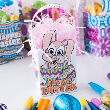 DIY Easter Gift Bags Template – Set of 8 PDF paper bag coloring templates