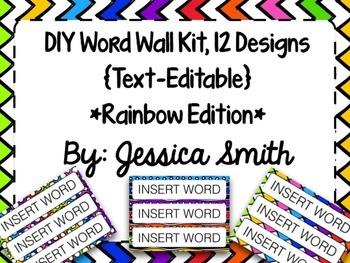 Create Your Own Word Wall Kit {Rainbow Edition}