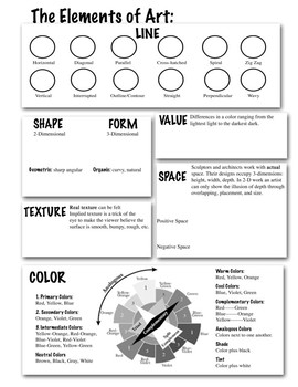 DIY Elements of Art Worksheet