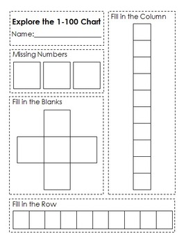 DIY Explore the 1-100 Chart Activity Sheet