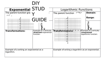 DIY Exponential and Logarithmic Study Guide