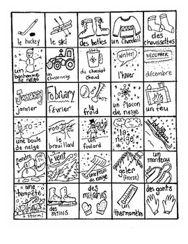 DIY French Winter Bingo
