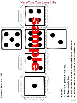 Dice / Game cube template (Editable)
