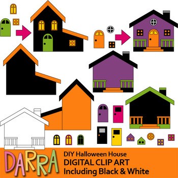 DIY Halloween House Clip Art - Mix and match clipart