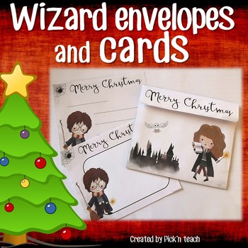 12 christmas cards matching envelopes for harry potter fans craftivity