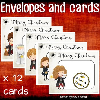 12 Christmas Cards + matching envelopes for Harry Potter fans - Craftivity