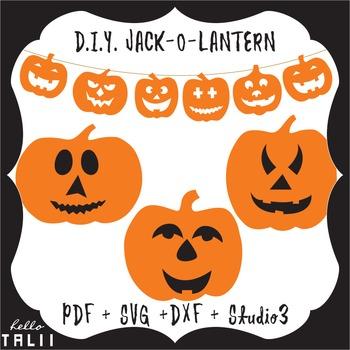 DIY Jack O Lantern- SVG PDF DXF Studio3 cutting files