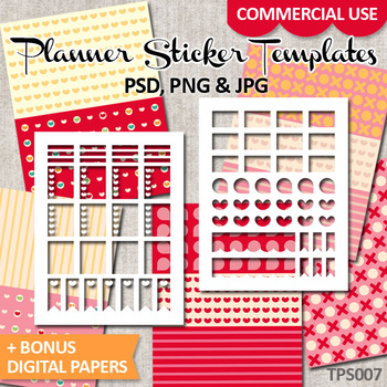 DIY Kit Planner Sticker Templates Erin Condren Life Planner / No. 7 Valentine