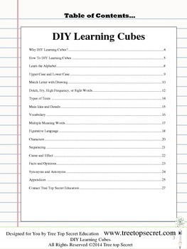 DIY Learning Cubes Reading