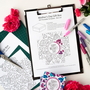 DIY Mother's Day Gift Box Template | Printable PDF template to color and make