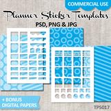 DIY Planner stickers Kit, ECLP Templates, blue background