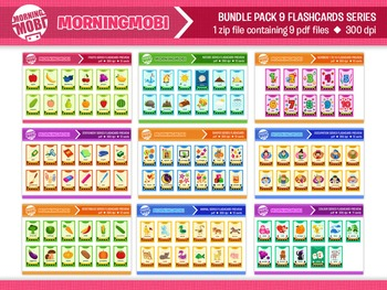 DIY Printable Bundle pack 9 flashcard series for teaching, decorating classroom