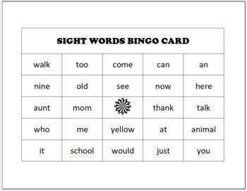 DIY Sight Word Bingo Generator