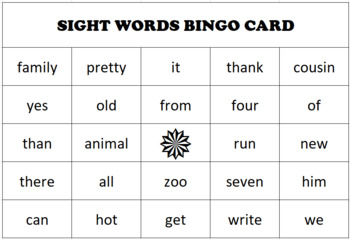 DIY Sight Word Bingo Generator - Full Working DEMO limited to 24 words