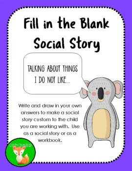 """DIY Social Story about """"Talking about things I do not like"""""""