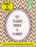 17-18 Teacher Binder with Calendar Spreads, Lesson Plan Templates, Sub, etc.