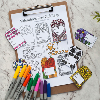 DIY Valentine's Day Gift Tags – Set of 8 printable gift tags to color and make