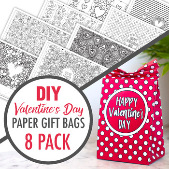 DIY Valentine's Day Paper Gift Bags (9 x Printable PDF Templates)