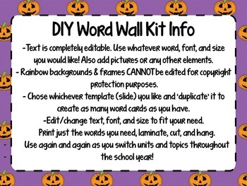Create Your Own Word Wall Kit {Halloween Edition}