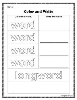 DIY Worksheet: Color and Write
