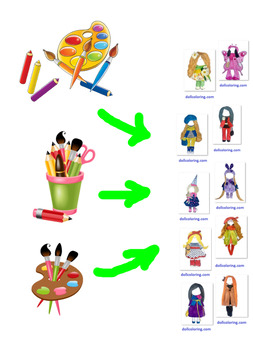 DIY coloring study How to color Doll coloring Coloring sheets