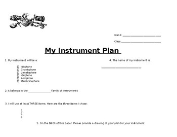 DIY instrument plan worksheet