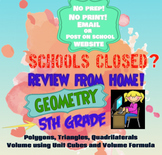 DISTANCE LEARNING 5th Grade Geometry Packet; Google Forms,