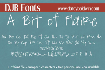 DJB A Bit of Flaire Font: Personal Use